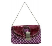 Evening Bag - Sequined Checker w/ Croc Embossed Dual Flap - Purple -BG-CE9913PL