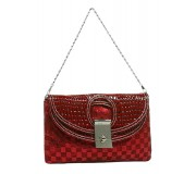Evening Bag - Sequined Checker w/ Croc Embossed Dual Flap - Red - BG-CE9913RD
