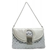 Evening Bag - Sequined Checker w/ Croc Embossed Dual Flap - Silver - BG-CE9913SV