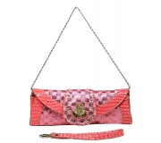 Evening Bag - Sequined Checker w/ Croc Embossed Trim Flap - Pink - BG-CE9915PK