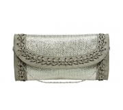 Evening Bag - Straw Like w/ Whipped Chain Trim - Silver - BG-92126S