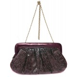 Clutch - Shiny Croc Embossed - Burgundy